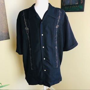 Cubavera resort style black embroidered shirt.